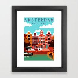 Vintage Amsterdam Holland Travel Framed Art Print