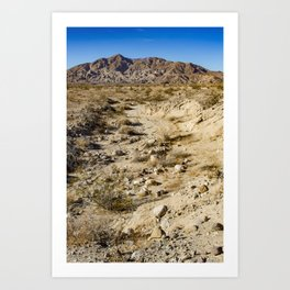 Dirt Trail Lines with Rocks Leading Back towards Granite Mountain in the Anza Borrego Desert Art Print