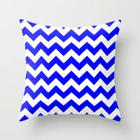 chevron Throw Pillows featuring Chevron (Blue/White) by 10813 Apparel