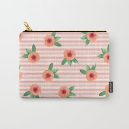 Peach Flowers and Stripes Carry-All Pouch