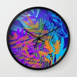 Electric Blues Tropical Jungle Wall Clock