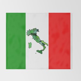 Map of Italy and Italian Flag Throw Blanket