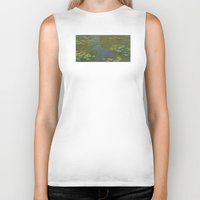 monet Biker Tanks featuring Claude Monet - Water Lily Pond 1919 by Elegant Chaos Gallery