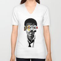 the godfather V-neck T-shirts featuring Godfather Mix 1 black by Marko Köppe
