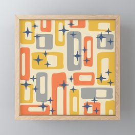 Retro Mid Century Modern Abstract Pattern 278 Yellow Orange Gray Framed Mini Art Print