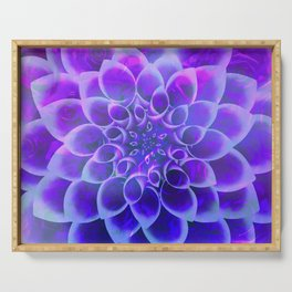 Mindfulness Purple-Pink and Blue Abstract Flower Serving Tray