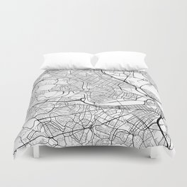 Cambridge Map, USA - Black and White Duvet Cover
