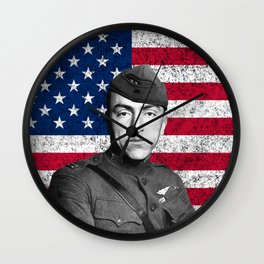 Eddie Rickenbacker And The American Flag Wall Clock