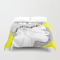 yellow pattern Duvet Covers featuring Yellow by Raxa Russian Roulette