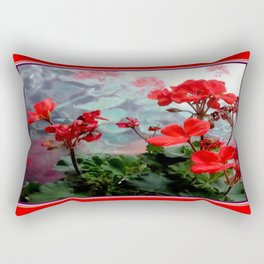 Red Geraniums Floral Red Abstract Rectangular Pillow