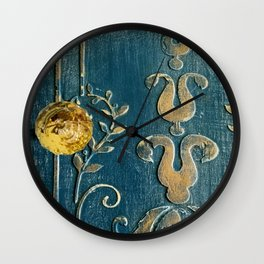 Original Art - A Piece of Versailles Blue & Gold Gilding Art Block Wall Clock
