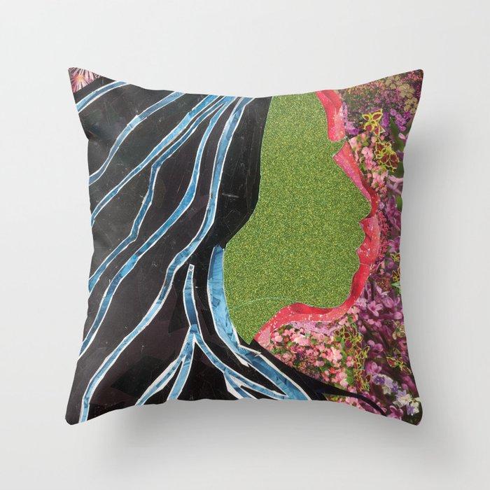 Black Hair Lady Throw Pillow