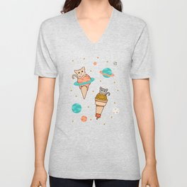 Cats Floating on Ice Cream in Space Unisex V-Neck