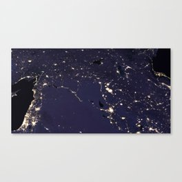 Night Lights Change in the Middle East - Levant Canvas Print