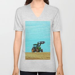 Tractor and Hay Roll on the Ridge Unisex V-Neck