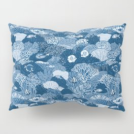 Coral Reef in Classic Blue Pillow Sham
