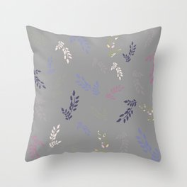Colorful leaves on light grey background Throw Pillow