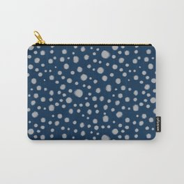 Navy painted dots polka dots minimal basic decor grey and blue pattern Carry-All Pouch