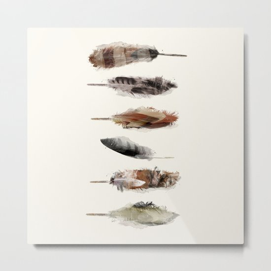 Free Fall Feathers Metal Print