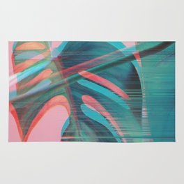 Glitch Monstera Theme Rug