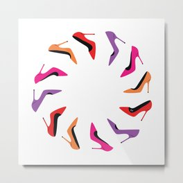 Colorful high heel shoes graphic illustration Metal Print