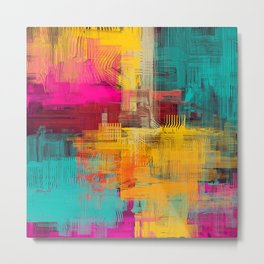 Abstract background texture. 2d illustration. Expressive handmade oil painting. Brushstrokes on canvas. Metal Print