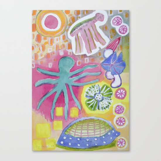 Blue Octopus and white Knight Canvas Print
