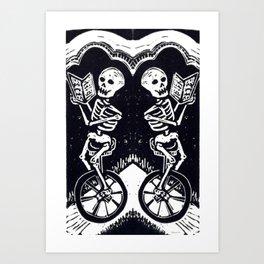 Unicycle Skeletons Art Print