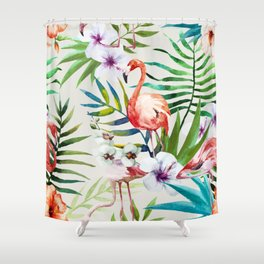 Fancy Tropical Flamingos Shower Curtain