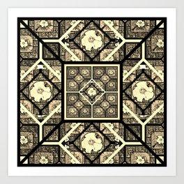 Cherokee Rose Pattern 1 black and white Art Print