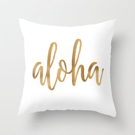 Aloha - gold and white Throw Pillow