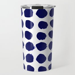 Aria - indigo brushstroke dot polka dot minimal abstract painting pattern painterly blue and white  Travel Mug