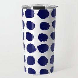 Aria - indigo brushstroke dot polka dot minimal abstract painting pattern painterly blue and white  Travel Mug