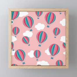 Hot air balloons and clouds - baby pink Framed Mini Art Print