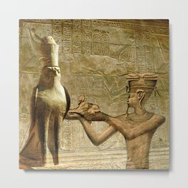 Horus and Pharaoh Metal Print