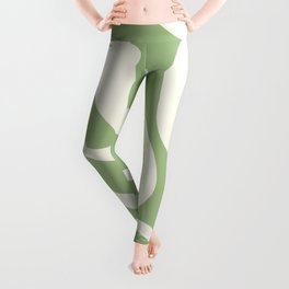 Modern Liquid Swirl Abstract Pattern in Light Sage Green and Cream Leggings