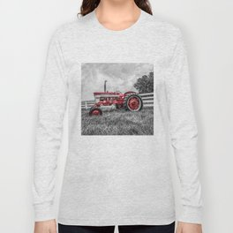 IH 240 Side View Selective Red Farmall Tractor Long Sleeve T-shirt