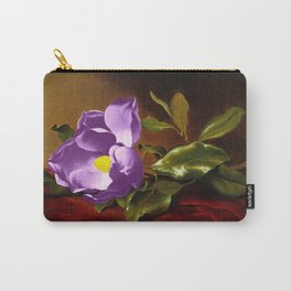 A Purple Magnolia on Red Velvet by Martin Johnson Head Carry-All Pouch