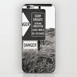 """Surf Unsafe, Strong Undertow"" Beach Access Sign Washington Coast, Pacific Northwest iPhone Skin"