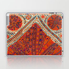 Orange Wildflower Sunshine III // 18th Century Colorful Rusty Red Bright Blue Metallic Happy Pattern Laptop & iPad Skin