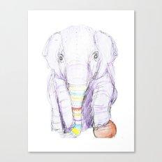 Striped Elephant Illustration Canvas Print