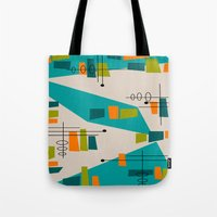 mid century modern Tote Bags featuring Mid-Century Modern Abstract by Kippygirl