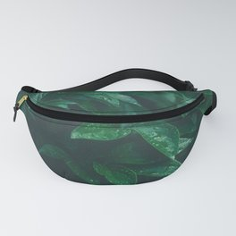 Green Leaves with Water Droplet - Nature Photography Fanny Pack