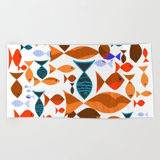 Red Fishes Beach Towel