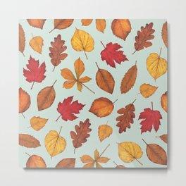 Autumn Leaves Illustration Pattern | Pale Green Leaves Pattern | Oak Linden Maple pattern Metal Print