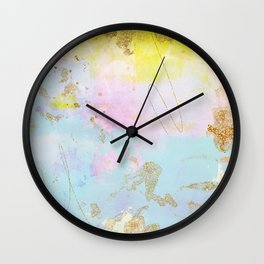 Light Blue, Pink,Yellow and Gold Brush Stroke Abstract Wall Clock