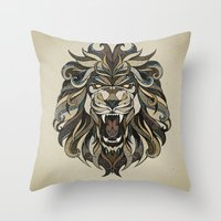 lion Throw Pillows featuring Lion by Andreas Preis