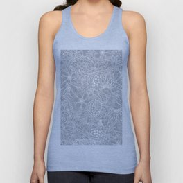 Modern trendy white floral lace hand drawn pattern on harbor mist grey Unisex Tank Top