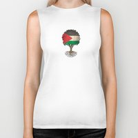 palestine Biker Tanks featuring Vintage Tree of Life with Flag of Palestine by Jeff Bartels