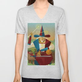 magician juggler with cup, wooden staff, sword and gold tarot card Unisex V-Neck